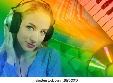 A woman is listening to music on her headphones with an abstract music background behind her.