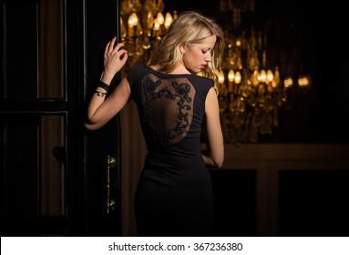 Woman in little black cocktail dress