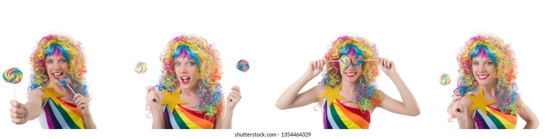 Woman with lollypop isolated on white