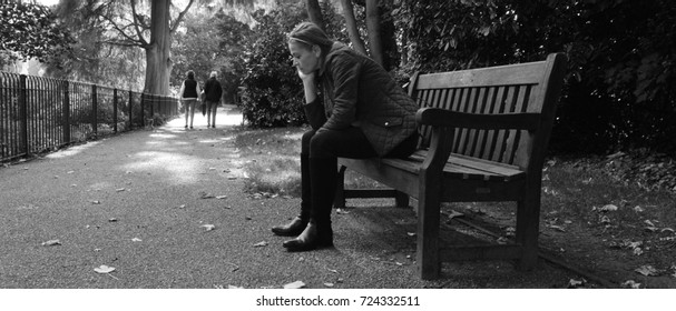 Woman lonely in park