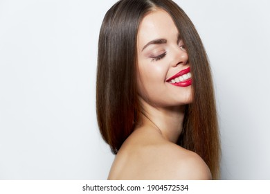 Woman with long Blinding smile hair clear skin