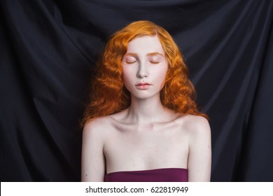 Red Hair Blue Eyes Pale Skin Stock Photos Images