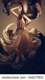woman in long flower dress
