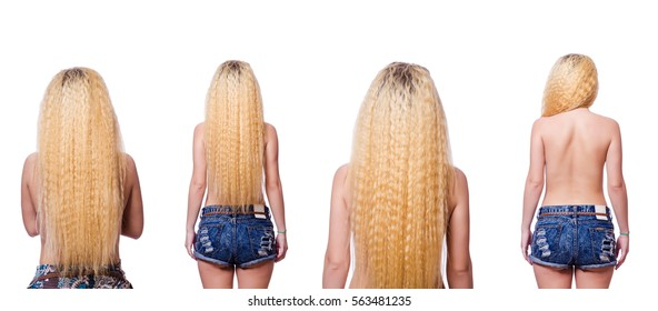 Woman with long hair on white