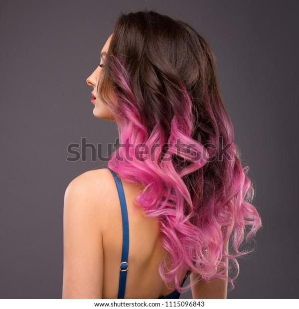 Darkish to Pink Ombre Hair - Feathery Pink Dip-Dye Fantasy | Hair ... | 620x600