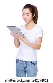 Woman look at tablet