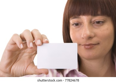 Woman looking to  a blank business card