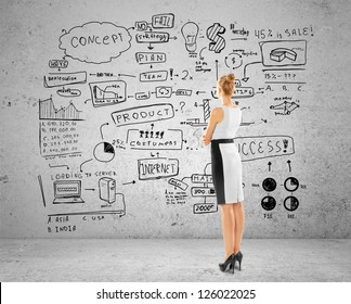woman looking at business concept on brick wall