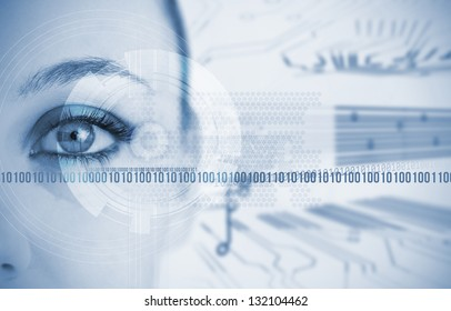 Woman looking at camera with futuristic background with circuit board