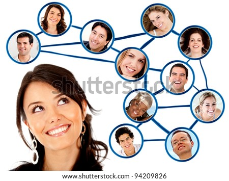 Woman looking to her social network  - isolated over a white background