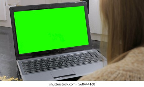 Woman looking at laptop with green screen. Business, communication, freelance and internet concept
