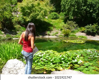 Woman looking over a pond in Berkeley, California. Summer 2011.