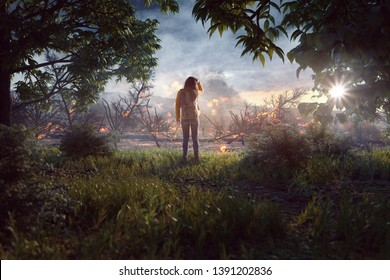 Woman looking over a wasteland