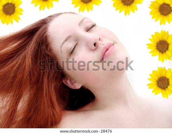 Woman looking refreshed with hair flowing to the side. Sunflowers added.