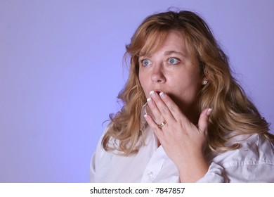 Woman looking surprised or scared