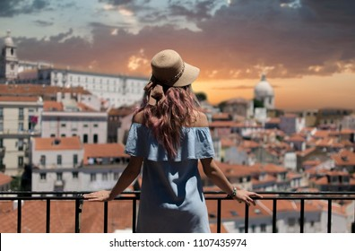 Woman looking at view in Lisbon