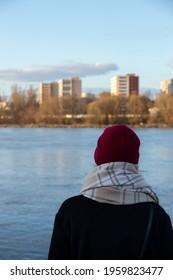 Woman looking at vistula river in Warsaw - Shutterstock ID 1959823477