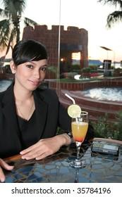 woman at lounge