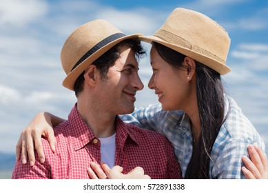 Woman in love with boyfriend over blue sky background, Close up