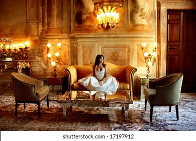 a woman in  a luxury hotel