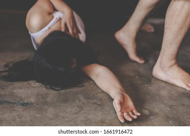 woman lying on ground, sexual violence , sexual abuse, Domestic Violence, human trafficking concept.