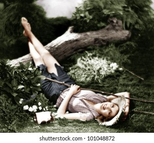 Woman lying on the ground and smiling