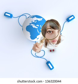 Woman with magnifying glass and the Earth with computer mouse