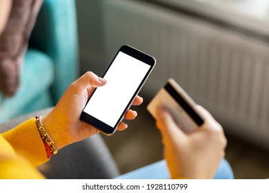 Woman make purchase easy and comfort order using smartphone at home