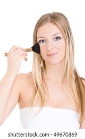 Woman makeup with brush