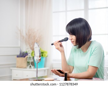woman with makeup cosmetics