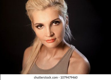 Woman makeup military style, large portrait in photo Studio