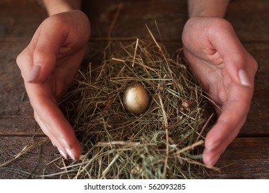Woman making crib for egg closeup. Female hands forming nest with straw on table for one golden egg. Easter, holiday decorations, spring, investments, Bank deposit concept