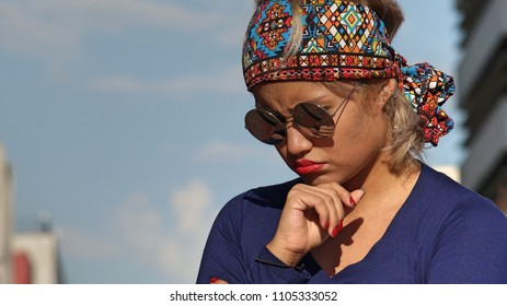 Woman Making A Decision Wearing Sunglasses