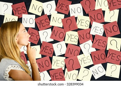 Woman making difficult decision