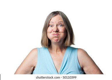 Woman making a funny face to entertain grandchildren