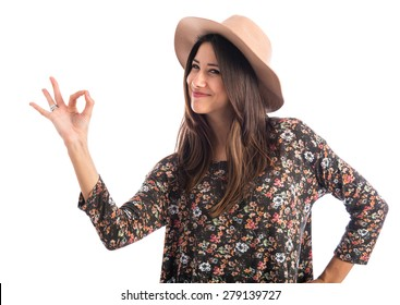 Woman making OK sign