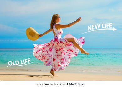 Woman making personal transformation in her life, leaving an old life behind and looking forward to a new better one.