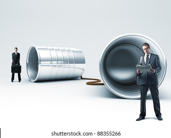 woman and man with 3d can phone