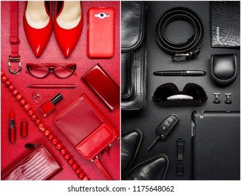 Woman and man accessories, fashion industry, modern life concept, clothes, shoes, gadget, jewelry, cosmetic, other luxury objects on red and black leather background