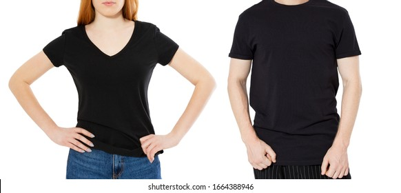 Woman and man body in black polo t shirts on white background