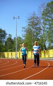 Woman and man exercising