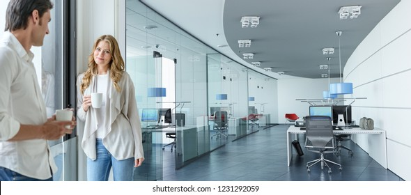Woman and man having a coffee in a corporate office 3D rendering