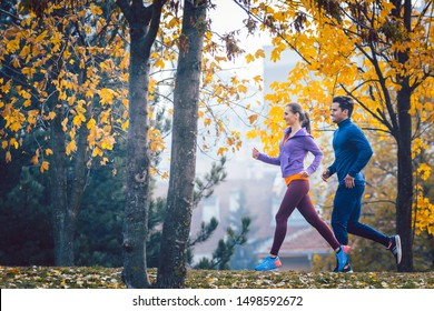 Woman and man jogging or running in park during autumn on a hill