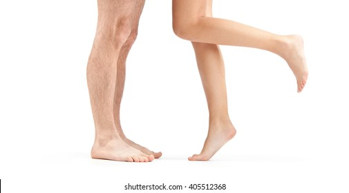 woman and man leg with foot isolated on white