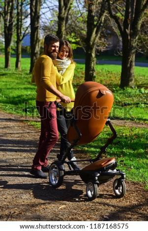 4502fb15978a Woman Man Parent Push Baby Stroller Stock Photo (Edit Now ...
