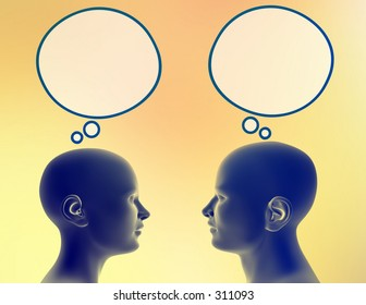 Woman and man share different thoughts. Just add your text or image to the bubbles.
