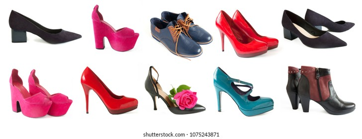 woman and man shoes set isolated on white background, shoes collection
