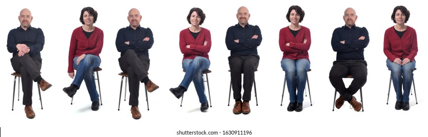 woman and man sitting on a chair with various poses on white