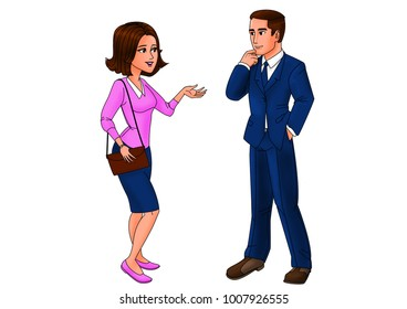 woman and man speaking