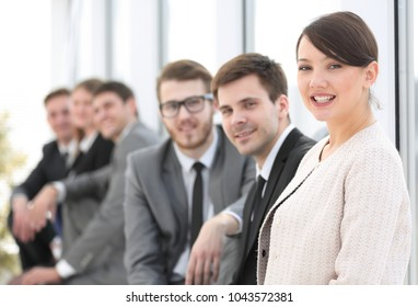 woman Manager and group business people in office